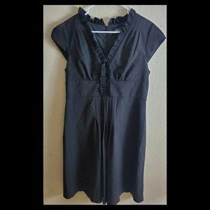 Adrianna Papell Black Ruffle Sheath Fitted Dress